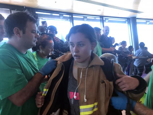Dayna after finishing the Firefighter Sky Tower Stair Challenge in Auckland. Photo: supplied.