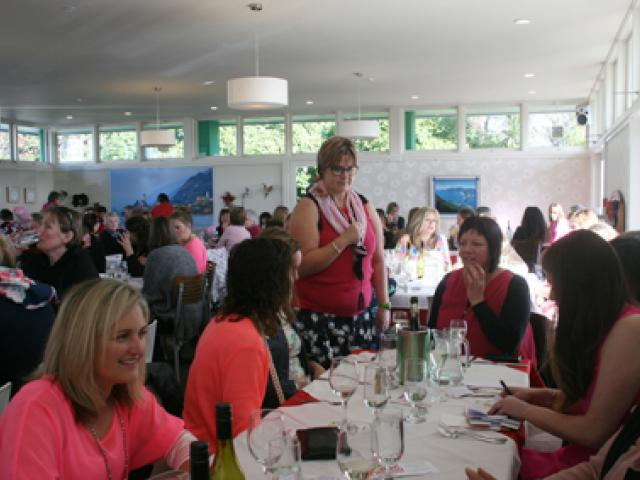 IMG 6812: Leona McCracken of Olive Tree, taking orders at the table from Rebecca Johnston. Photo:...
