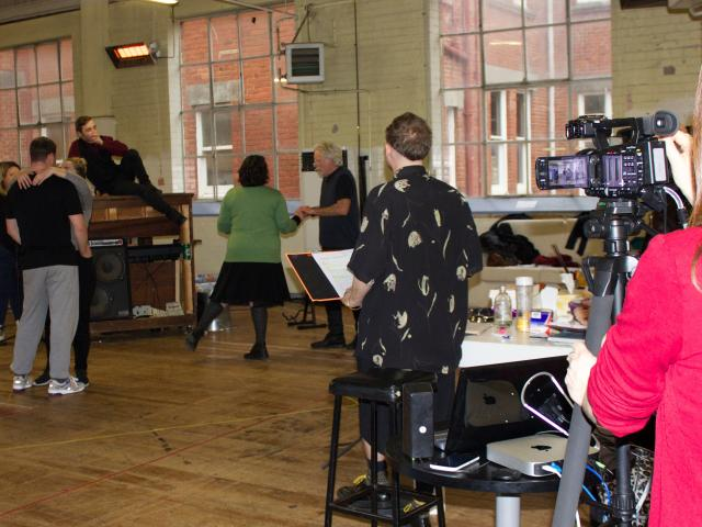 In the background we can see the Director Benjamin Henson and the cast of Twelfth Night. Photo:...