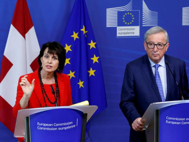 Swiss President Doris Leuthard and European Commission President Jean-Claude Juncker. Photo: Reuters