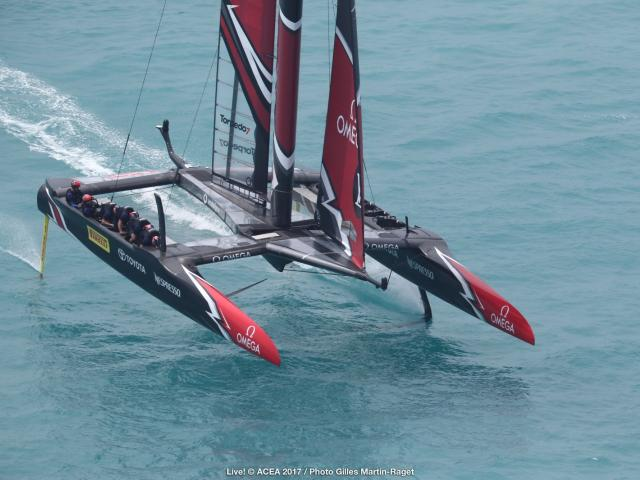 Team New Zealand during its comprehensive win over BAR. Photo: America's Cup