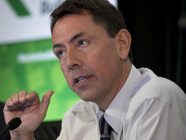 Fletcher Building chief executive Mark Adamson addresses media in February. Photo: NZ Herald.
