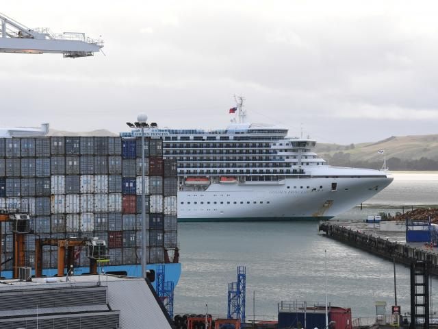 Cruise ship Golden Princess nudges into Port Chalmers, to berth opposite  container ship Laust...