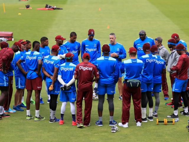 The West Indies team prepares for its first test against England. Photo: Getty Images