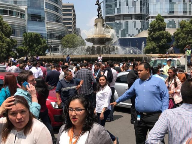 People in the street in Mexico City after the quake. Photo Reuters