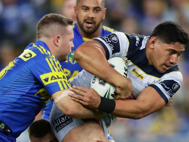 Jason Taumalolo on the charge for the North Queensland Cowboys against the Parramatta Eels. Photo...