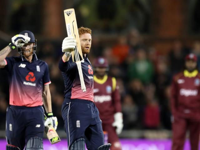 Jonny Bairstow celebrates his century for England against the West Indies. Photo: Getty Images