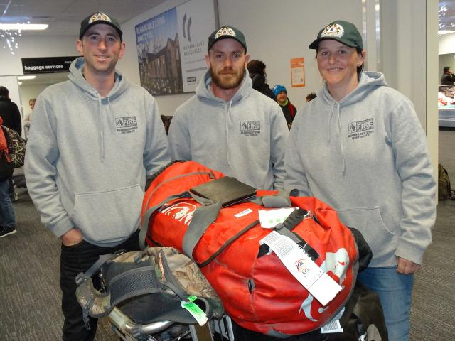 Glenorchy firefighters (from left) Will McBeth, Ben Douglas and Sonya Poplawski at Queenstown...