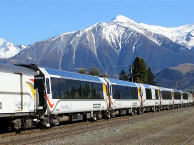 The TranzAlpine pauses at Springfield in Canterbury before heading into the mountains. Photo:...