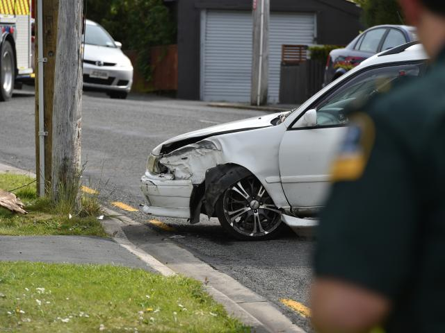 """The scene of a crash on South Rd earlier today. Photo"""" Gregor Richardson"""