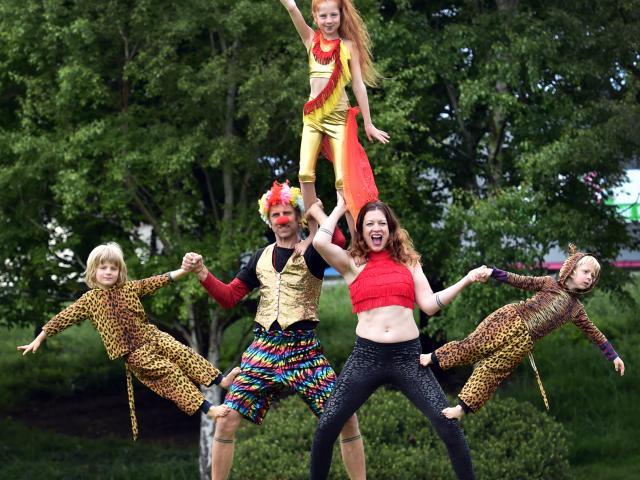 Ashton Family Circus members (from left) Jaz (4), Royce, Dylan Daisy (11), Anna and Dallas (4)...