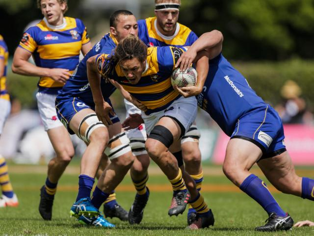 Jesse Parete of the Steamers breaking through the Otago defense during the Mitre 10 Cup Semi...
