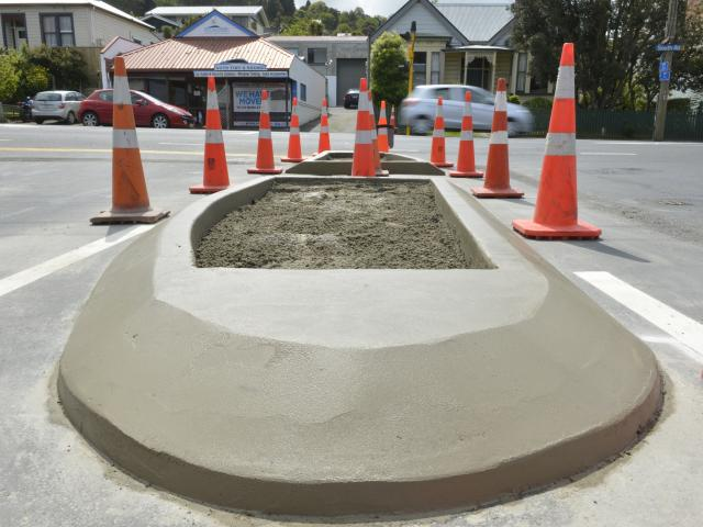 A new traffic island was installed yesterday. Photos: Gerard O'Brien