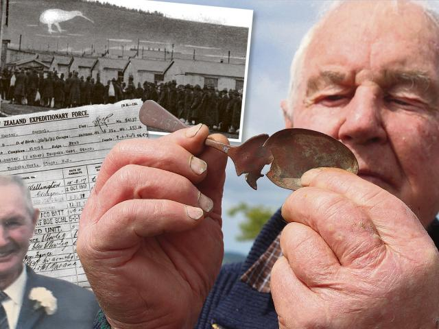 Bevan Hunter (86), of Stirling, with a spoon found in the ground at a former military training...