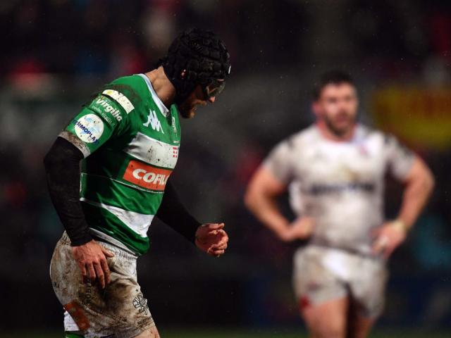 Ian McKinley, seen here in action for Benetton Treviso, played for Italy against Fiji wearing...