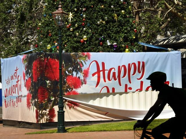 A ''Happy Holidays'' message under Dunedin's Christmas tree message is vandalised yesterday....