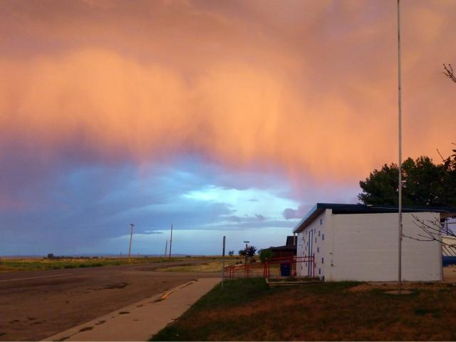 A storm approaches at sunrise in Winnett, Montana. PHOTO: KEL FOWLER