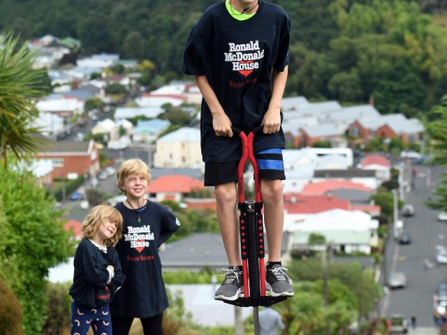 Harry Willis (11) trains for his marathon climb up the world's steepest street on a pogo stick,...