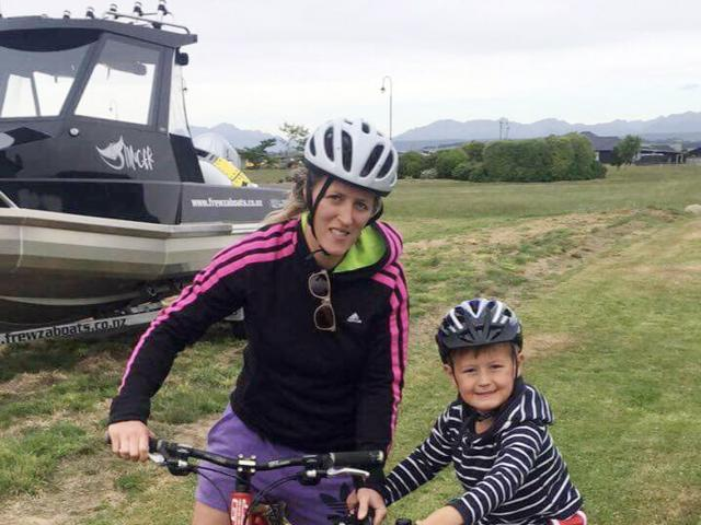 Wendy Frew bikes with son Archie (5) while on holiday in Te Anau. Photo: Supplied