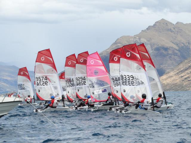 A gold fleet race during the O'pen Bic New Zealand Open on Lake Wakatipu yesterday. Photos: Guy...