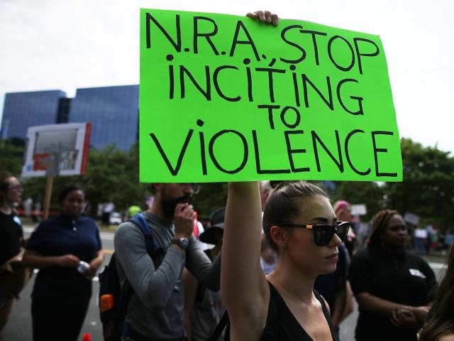 Protestors outside the NRA headquarters in Fairfax, Virginia. Photo: Getty Images