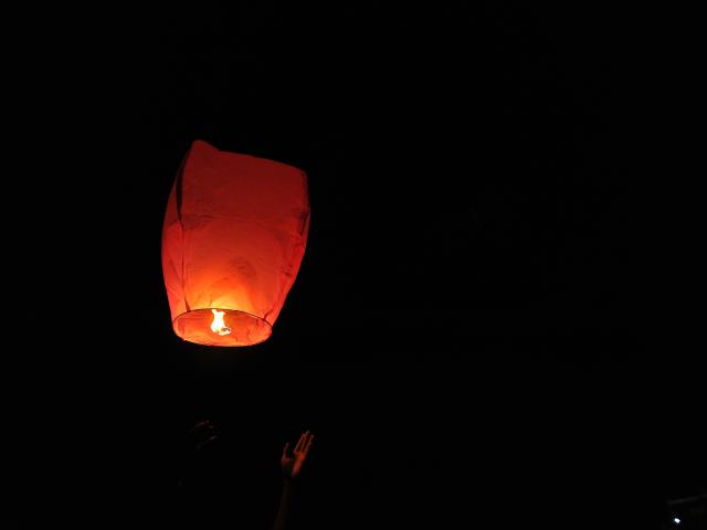 """Police received calls in regards to """"distress flares"""" which wound up being sky lanterns. Photo:..."""