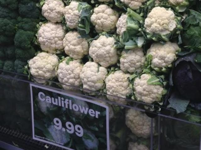 Cauliflower was photographed priced at $9.99 yesterday at New World, Wellington. Photo supplied...