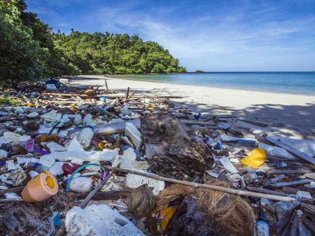 Going from plastics to microplastics - pictured, a beach on a national park in Thailand. Photo:...