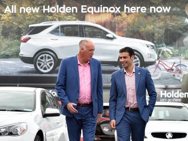 Holden dealer principal Guy Smith, left and GM managing director Kristan Aquilina visits Cooke...