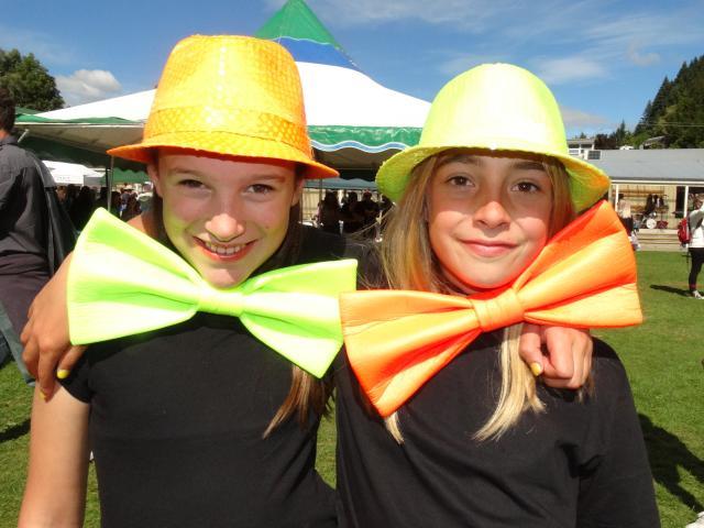 Sara Wamington and Stella Rhind (both 11) at the Queenstown Primary School fair. PHOTO: MANDY COOPER