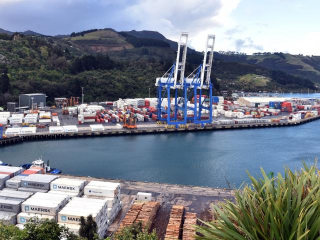 Port Chalmers container terminal, where a man was injured on Monday evening. PHOTO: PETER MCINTOSH