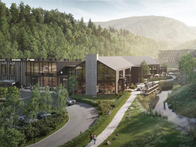 An artist's impression, looking to the north, of the proposed Waterfall Park development's hotel...