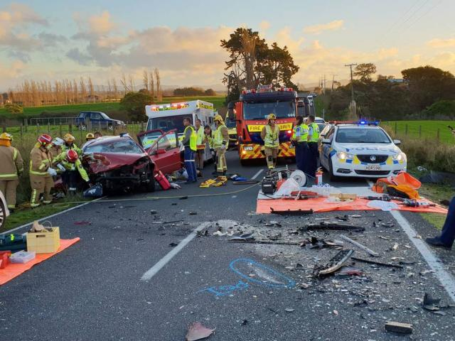 Nine people were injured in a two-car crash in Hoe-O-Tainui in the Waikato yesterday. Photo:...