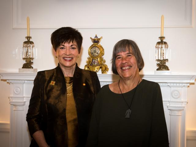 Arts Foundation of New Zealand Icon Award recipient Dame Gillian Whitehead (right) pictured with...