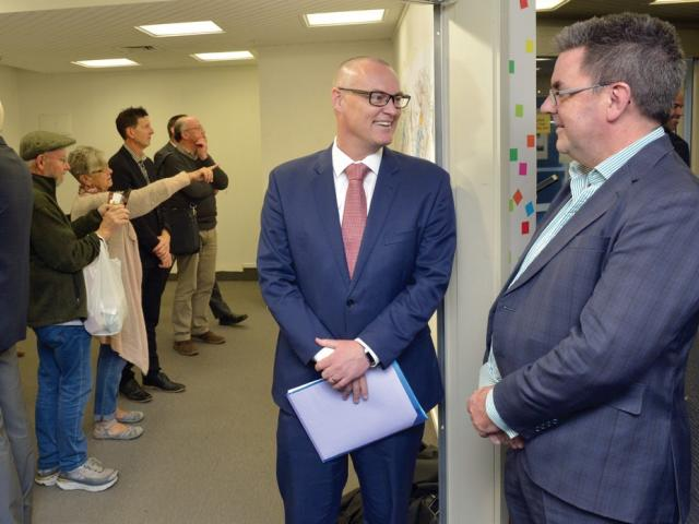 Health Minister David Clark and Southern DHB CEO Chris Fleming share a word after the...