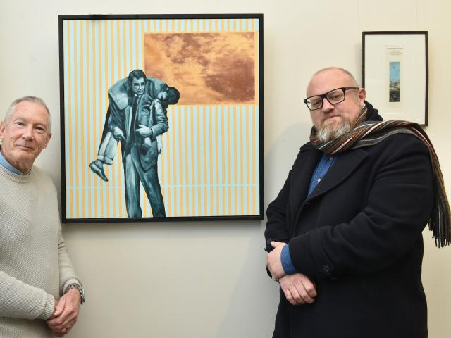 Otago Art Society incoming president Doug Hart (left) and Otago University Press marketing and...