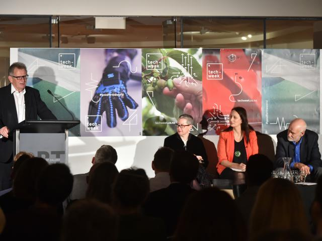 Otago Polytechnic chief executive Phil Ker spoke along with fellow panelists (from left)  Julie...
