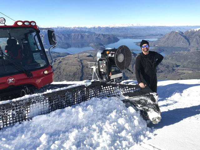 Knee-deep ... Treble Cone Ski Area field operations manager Dave Crotty continues preparations...
