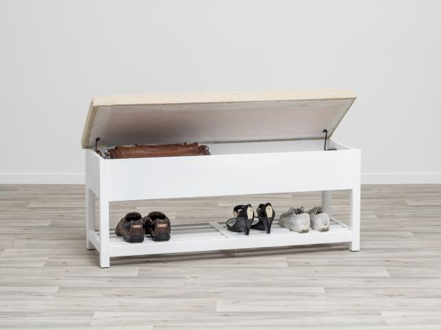 This bench seat with storage will solve your shoe storage issues.