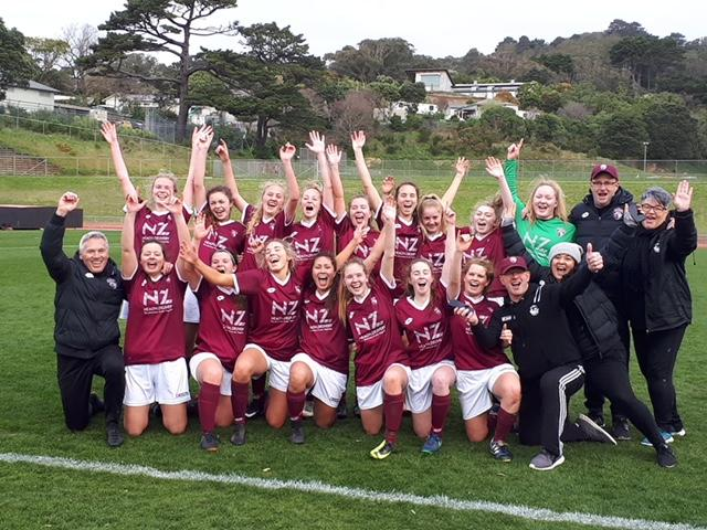Dunedin Technical celebrates after earning a spot in the final of the Kate Sheppard Cup with a 4...