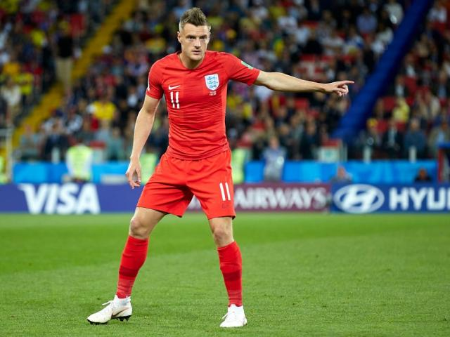 Jamie Vardy in action for England against Colombia at the recent Football World Cup. Photo: Getty...
