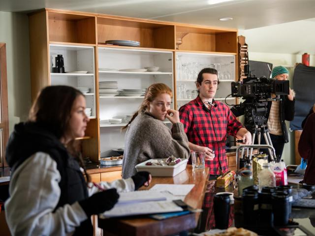 Filming a scene from web television series pilot Constance, on location in Wanaka in August, are ...