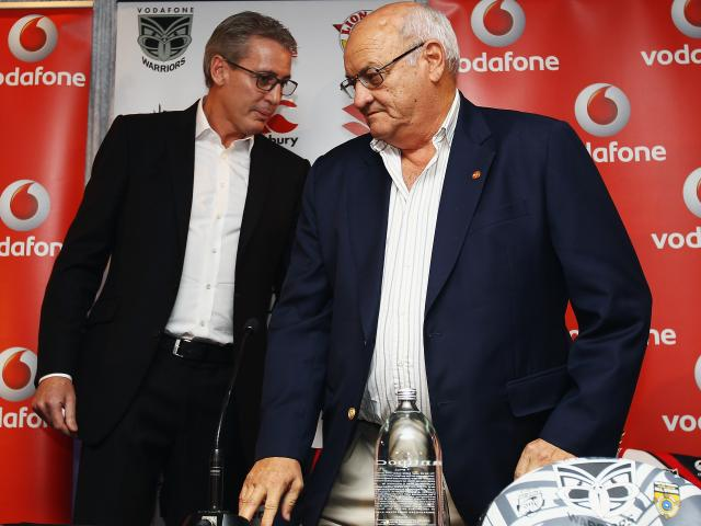 Eric Watson (left) and Sir Owen Glenn at a Warriors event at SkyCity in 2012. Photo: Getty Images