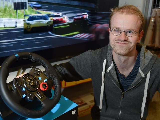 Dunedin man Simon Bishop (28) is screeching into world video game stardom. Photo: Gregor Richardson
