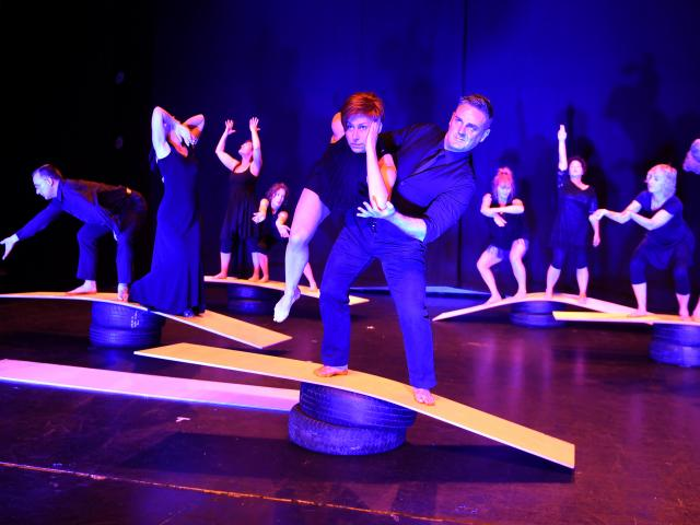 Dancers Serena Gallagher and Andrew Shepherd (front) with the Rebound Dance Company, perform at...