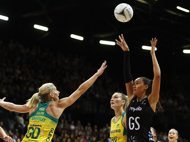 Maria Folau shoots over the Australian defence during the Silver Ferns' victory in Hamilton....