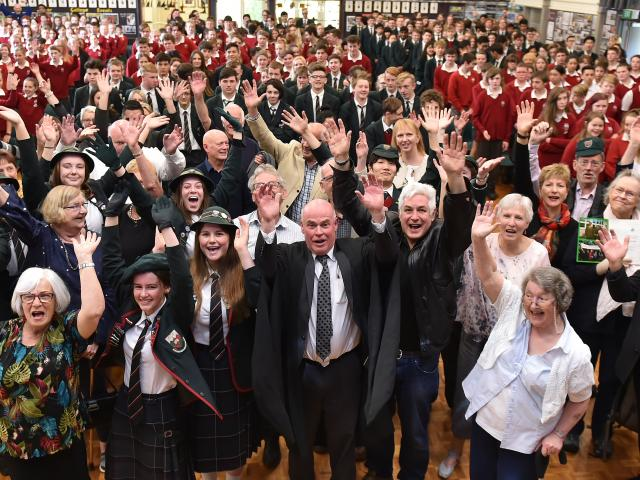 Staff, pupils, and former pupils gather for a special assembly to commemorate 60 years of...