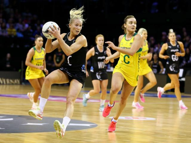Laura Langman in action for the Silver Ferns against Australia last night. Photo: Getty Images