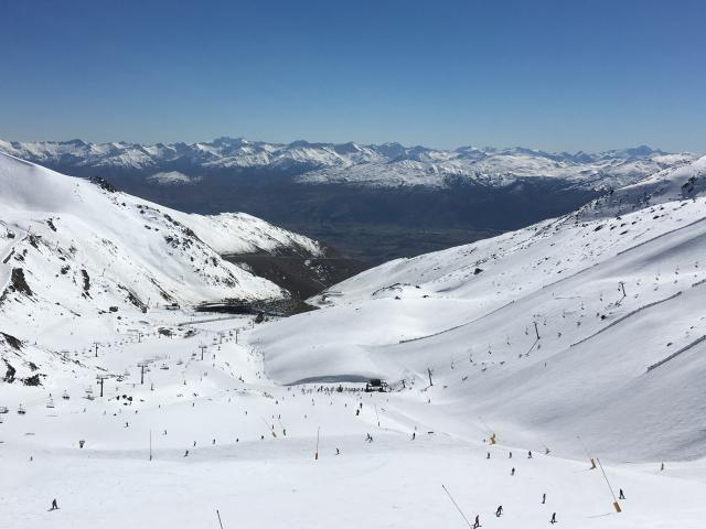 The Remarkables skifield near Queenstown. The Sugar Bowl lift is shown climbing the mountain on...