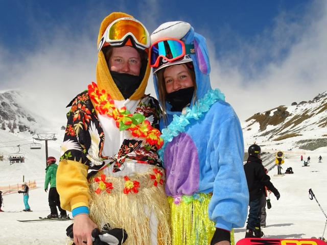 Annie (16) and Stella (13) Fraser,  of Queenstown, embraced the Hawaiian theme during the last...